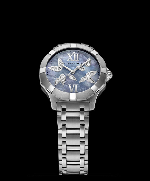 Concord | Saratoga Women's 31mm Stainless Steel Watch with Mother of Pearl Dial and Diamonds