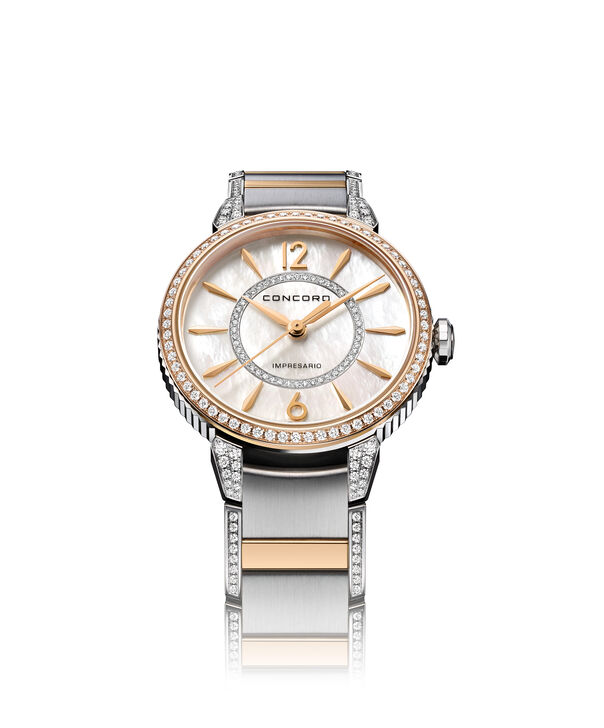 Concord| Women's Impresario 32mm Stainless Steel and Rose Gold Watch with Diamonds