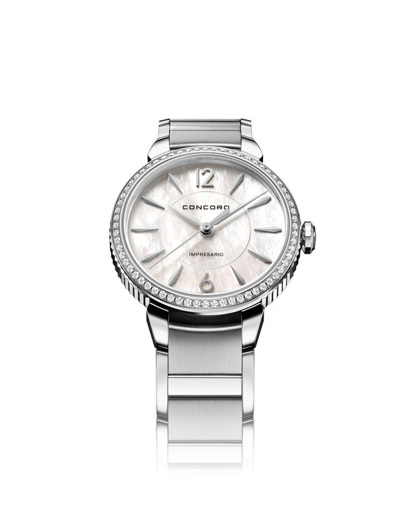 Concord| Women's Impresario 32mm Stainless Steel Watch with Mother of Pearl and Diamonds