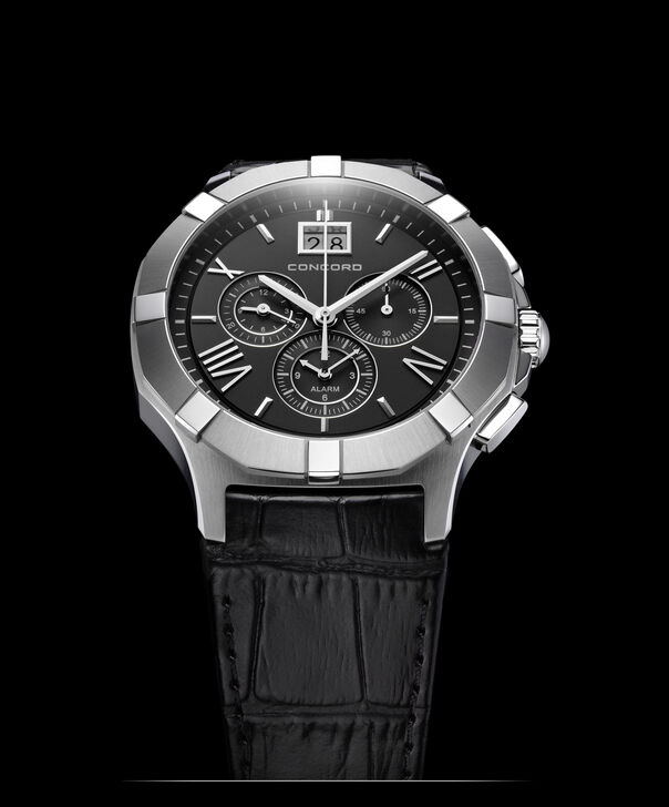 Concord | Gents' Saratoga Chronograph, Quartz, 42mm, Steel, Black Dial