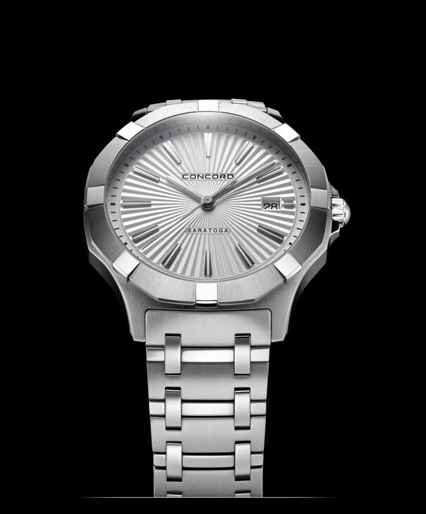 Concord | Gents' Saratoga Quartz, 40mm, Steel, Silver Sunray Dial