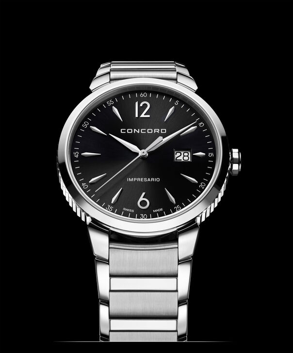 Concord| Men's Impresario 41mm Stainless Steel Watch with Black Dial