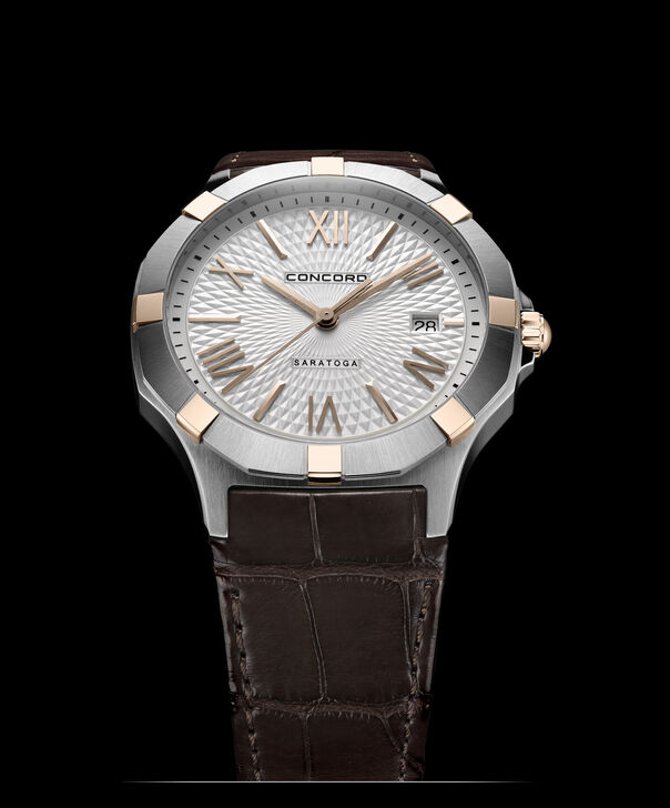 Concord | Gents' Saratoga Quartz, 40mm, Steel, Rose Gold Case