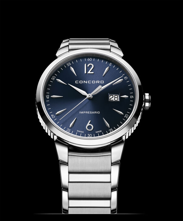 Concord| Men's Impresario 41mm Stainless Steel Watch with Blue Dial