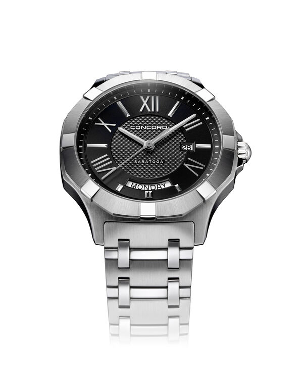 Concord| Men's Saratoga 40mm Stainless Steel Watch with Black Dial